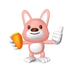 3d pink rabbit smile