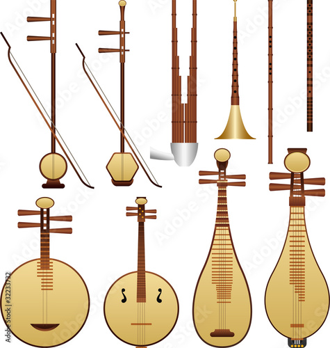 Layered vector illustration of Chinese music instruments.