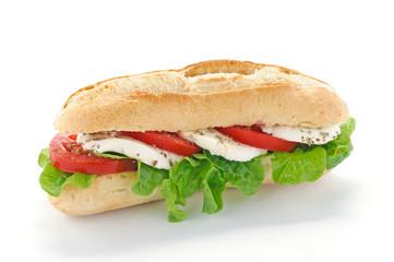 Panino con mozzarella, insalata e pomodoro