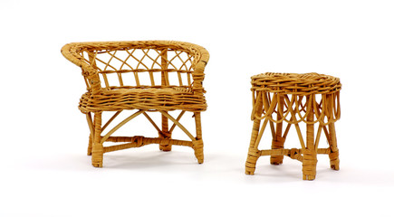 Wicker Settee and Table