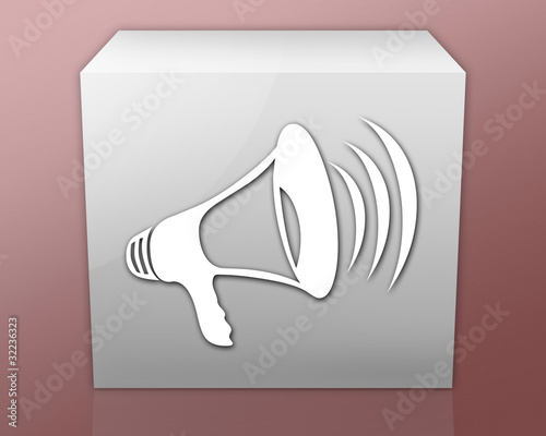 "Box-shaped Icon (red b/g) ""Megaphone / Announcement Symbol"""