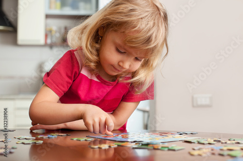 Girl, playing puzzles