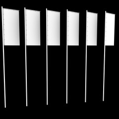 six white vertical flags on a black background