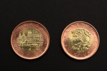 The front and back of Czech republic coins