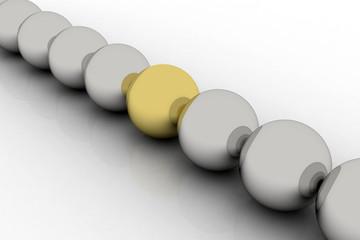 golden sphere among silver similar ones