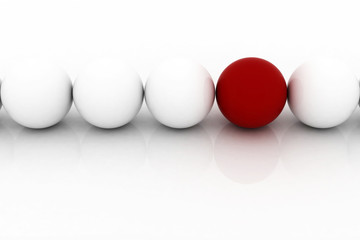 red sphere among white similar ones