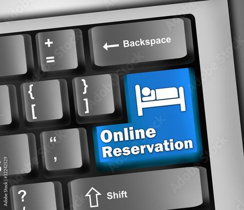 """Keyboard Illustration """"Online Reservation"""""""