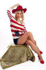 Sexy american-dressed girl wearing red hat and shoes