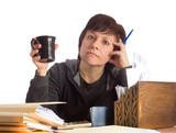 Woman Doing Paperwork and Paying Bills