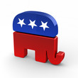 Republican elephant over bright background