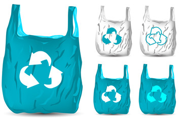 set of recycle white and blue plastic bag isolated on white