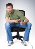 Emotion gamer to play on chair with joystick poster