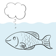 Vector cartoon fish thinking with a blank bubble for your text