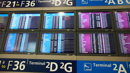 large number of luminous information boards at airport