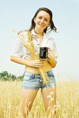 Girl  with quass and wheat ear