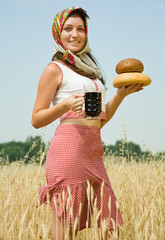 Girl  with bread and kvass