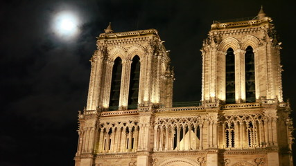 Notre Dame Cathedral, behind night sky