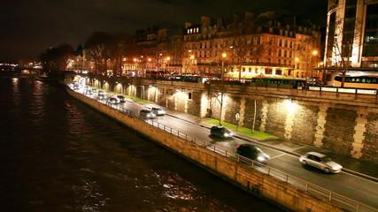 cars go on highway Voie Georges Pompidou bank of River Seine