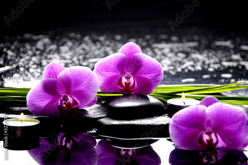 Fototapeta Spa still life with set of pink orchid and stones reflection