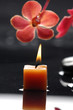 spa scene -aromatherapy candle and red orchid on zen stones