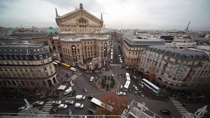 Opéra Garnier on Place de l'Opéra in Paris, top view