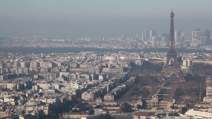 panorama of Paris left to right from Montparnasse tower by day