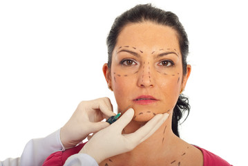 Close up of woman receiving botox injection
