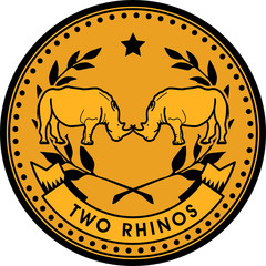 Rhinos coin, vector illustration