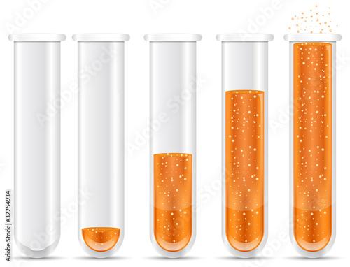 orange liquid with bubble in test tubes