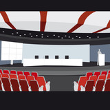 Conference hall vector illustration sampler