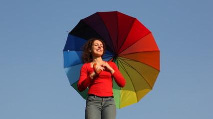 Woman on shoulder rotates umbrella