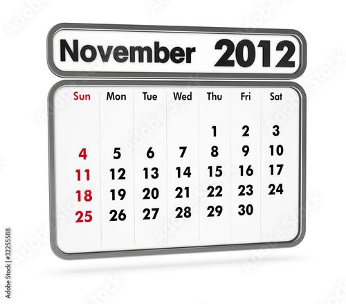calendar 2012 - november month