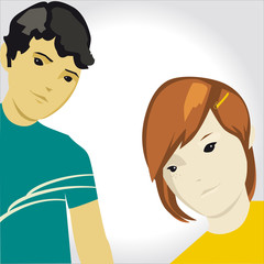 Vector cartoon boy and girl illustration