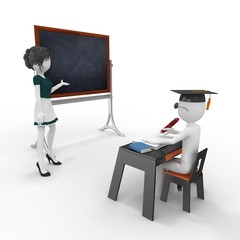 3d classroom with teacher and pupil