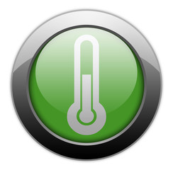 "Green Metallic Orb Button ""Thermometer / Temperature"""