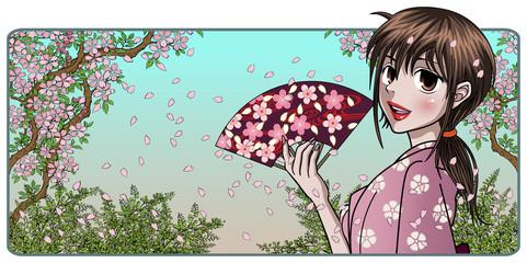 Fine Japanese Lady Holding Fan - Nature background