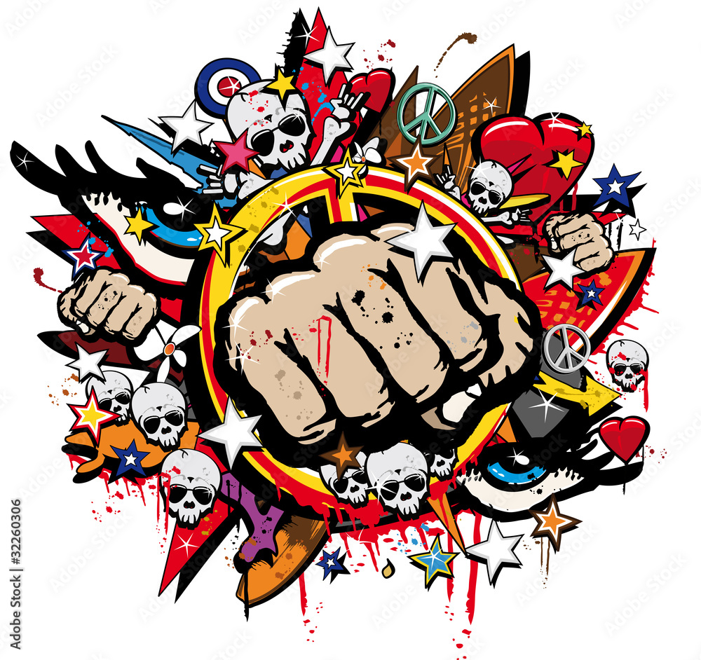 Graffiti Fist Freefight Club Symbol Pop Art Wall Sticker