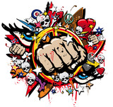 Fototapety Graffiti Fist Freefight club symbol pop art