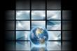 Digital space - Blue digital background with blue globe
