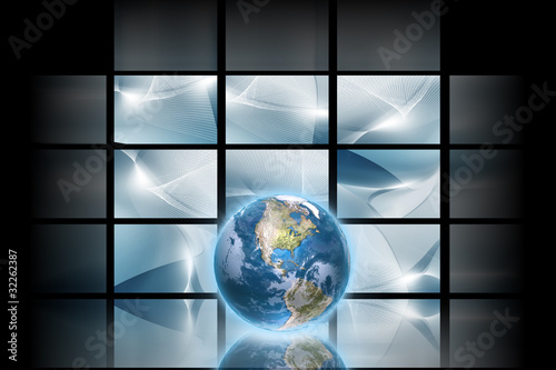 Digital space - Blue digital background with blue globe