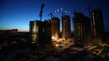 Work at construction site continued after sunset, time lapse