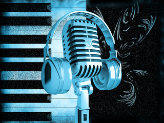Microphone on old blue musical background