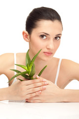 aloe and young woman