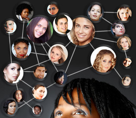 african woman social networking