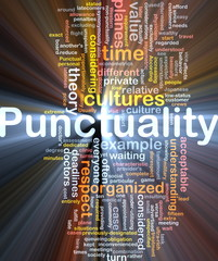 Punctuality background concept glowing