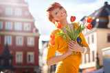 Happy woman with bunch of flowers - Fine Art prints