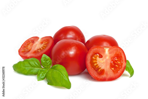 Leinwanddruck Bild Tomaten mit Basilikum