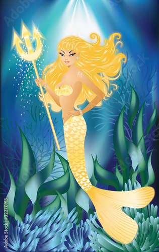 Poster Zeemeermin Gold Mermaid with trident, vector illustration