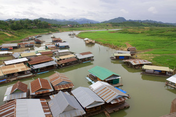 Landscape of houseboats