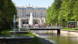 Royal Petrodvorets, footbridge and fountains in St. Petersburg